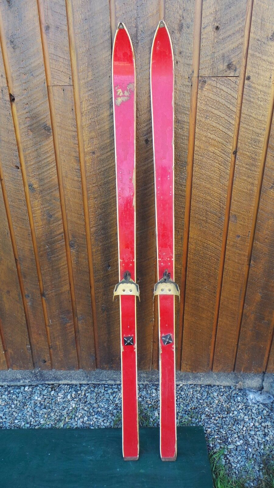 Vintage Wooden 66  Long  Skis with Bindings Wiht Old Original Red Finish  no minimum
