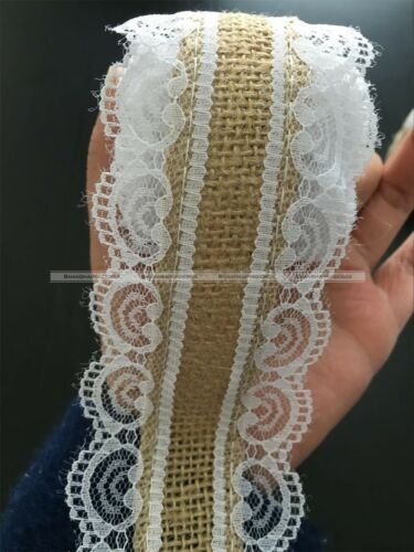2 Meters Jute Burlap Hessian Lace Trim Ribbon Rustic Wedding Home Decoration S3