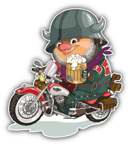 3/'/' or 5/'/' Funny Biker With Bear Car Bumper Sticker Decal