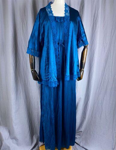 Vtg Lady Cameo Peignoir Set Ruffle Lace Trim Women