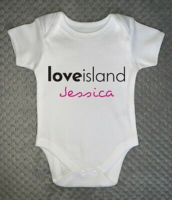 ANY NAME Pink or Blue Love Island PERSONALISED unisex BABY GROW