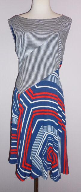 917221ee32d NWT Maeve ANTHROPOLOGIE Striped Blue Cameron Swing Asymmetrical Dress