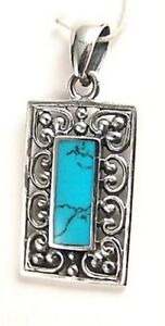 Turquoise-Pendant-Sterling-Silver-Genuine-Filigree-Brand-New
