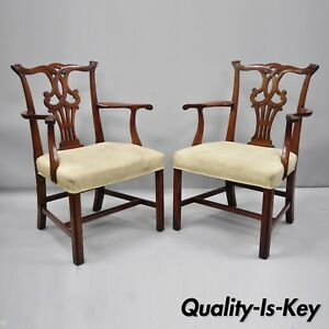 Pair-Vintage-Solid-Mahogany-Chippendale-Style-Dining-Chairs-Armchairs-Attr-Baker