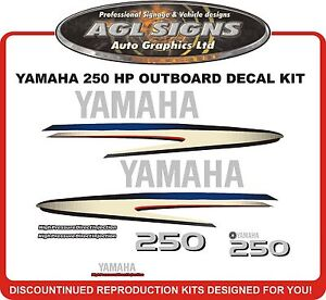 YAMAHA 250 hp Decal Kit reproductions 200 225 hp also available