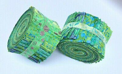 """Mini JELLY ROLL 20 x 2.5/"""" Strips 100 /% Cotton Batik Tones of Aqua"""