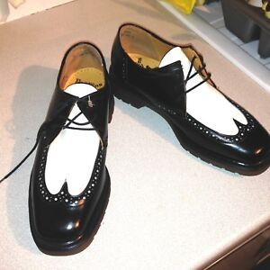 Acheter Pas Cher Vintage Dr Martens Noir Blanc Richelieu à Cuir Uk 8 Eu 42 Fabriqué En Angleterre-afficher Le Titre D'origine