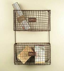 New Primitive Rustic Wall Mount Wire Letter Holder Mail