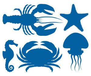 MARITIM-AUFKLEBER-Hummer-Seestern-Seepferdchen-Krabbe-Qualle-Meer-Bad-Fliesen