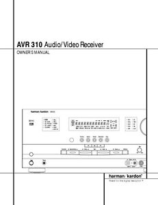 Details about Harman Kardon AVR-310 AV Receiver Owners Manual on
