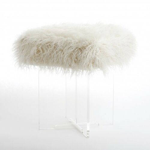 Acrylic Stool Bench Wild Mannered Cross Leg Square Mongolian Ivory Lamb Faux Fur