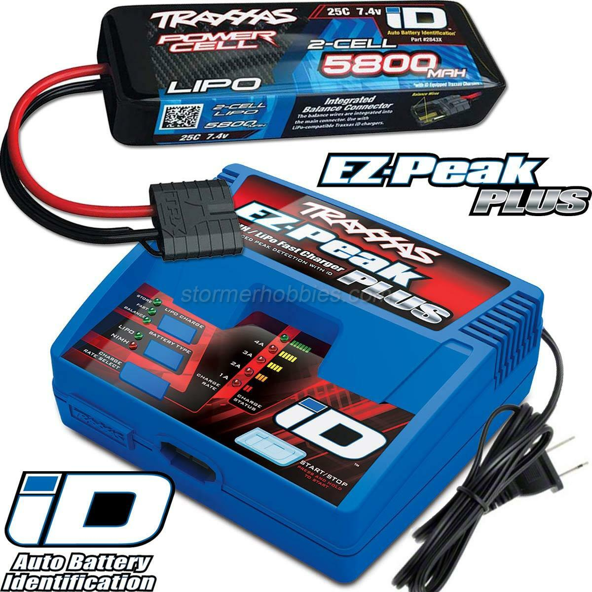 Traxxas EZ-Peak Plus LiPo Charger & 5800mAh 7.4V iD Battery Combo for STAMPEDE