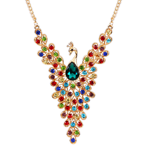 Colorful Rhinestone Crystal Peacock Choker Bib Statement Gold Chain Necklace Hot