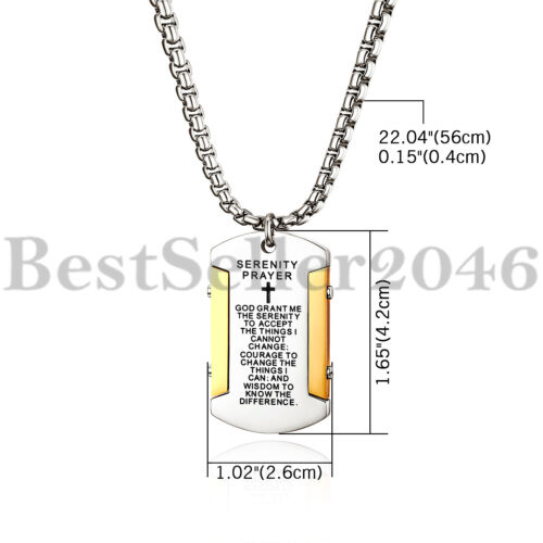 "Men Women Cross Bible Verse Prayer Dog Tag Pendant Stainless Steel Necklace 22/"""