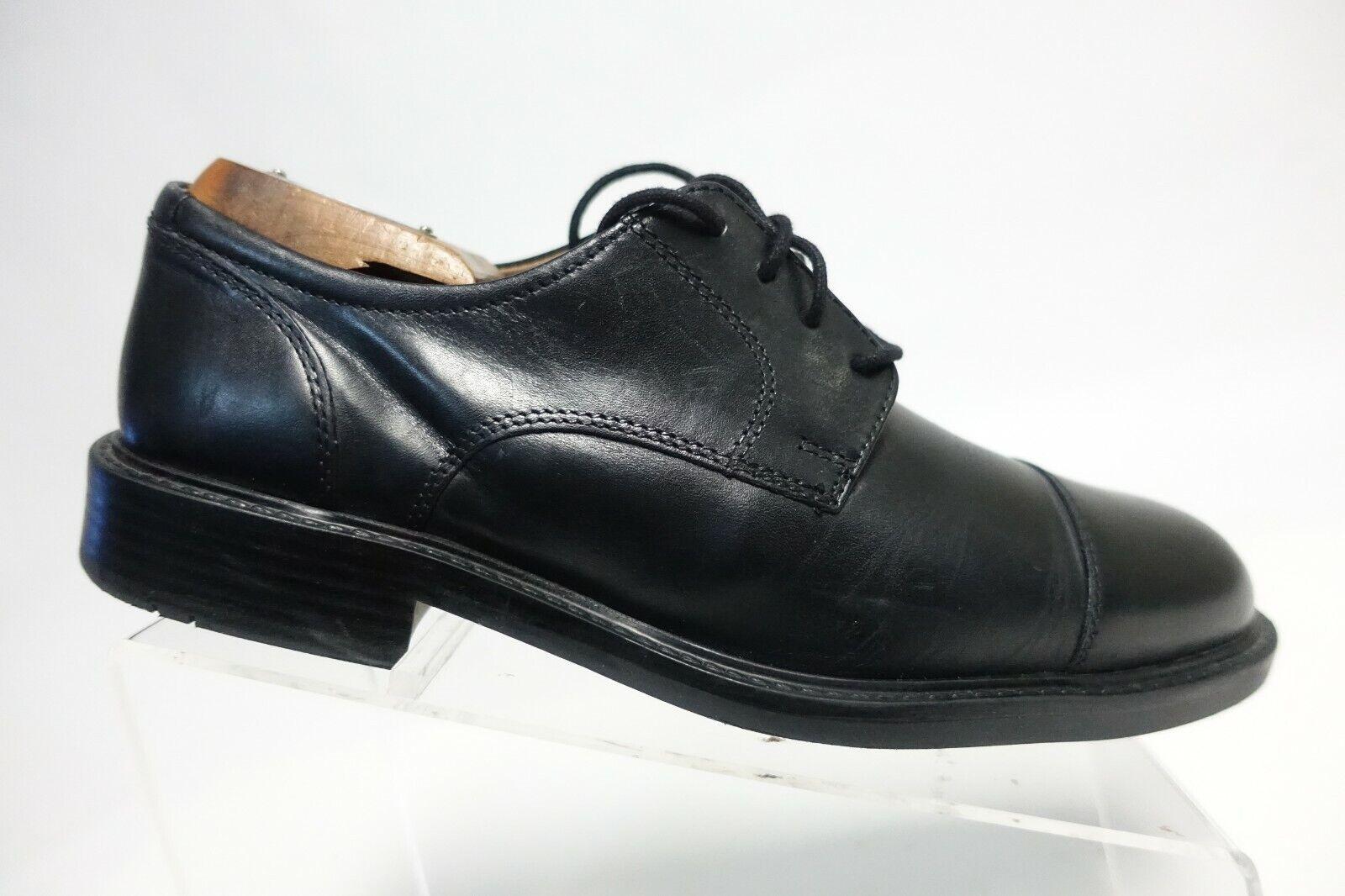 JOHNSTON & MURPHY Cap-Toe Black Sz 8.5 M Men Leather Derby Shoes