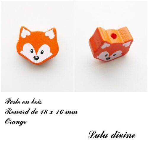 Perle en bois de 18 x 16 mm Perle plate petite Tête de renard Orange