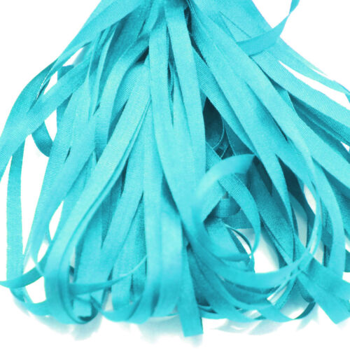 ONE METRE OF SOFT SILK RIBBON TURQUOIISE BLUE COLOUR 4 MM WIDE