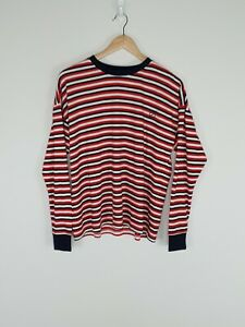 NWOT-Silent-Theory-Striped-Long-Sleeve-Ringer-Red-White-Navy-Size-10