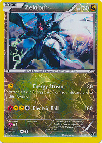 Zekrom Holo Rare Reverse Holo Pokemon Card XY Roaring Skies 64//108