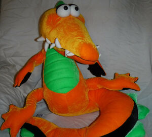 "JB Toys Neon Orange Alligator 20"" Sitting Plush Soft Toy Stuffed Animal"
