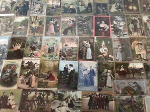 Big-Lot-of-Romantic-Antique-Vintage-Postcards-Men-Ladies-People-Romance-a709