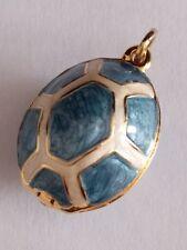 Faberge Llght Blue cream Turtle Egg Pendant Bracelet Charm Locket New