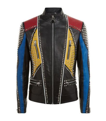 Fashion Vestes cloutées en cuir véritable cuir souple slim fit Custom Made vestes