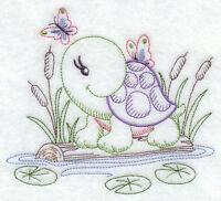 Turtle & Butterflies (vintage) --- Machine Embroidered Quilt Block (azeb)