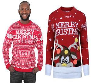 New Women Men's Novelty Merry Christmas Deer Rudolph Jumper Knitted Sweater Gent