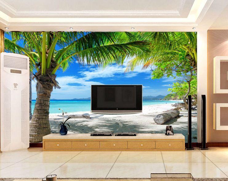 3D Sea Breeze Beach Trees Paper Wall Print Wall Decal Wall Deco Indoor Murals