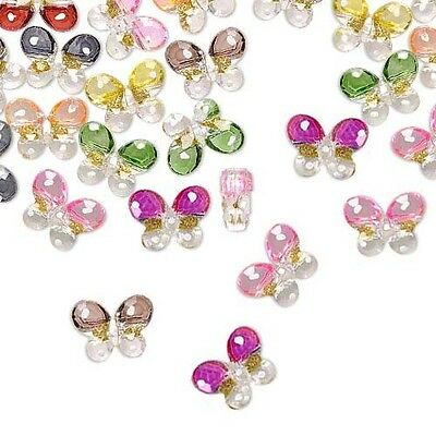 24 Big Plastic Acrylic Two Tone Butterfly Shank Buttons w/ Gold Glitter Accents