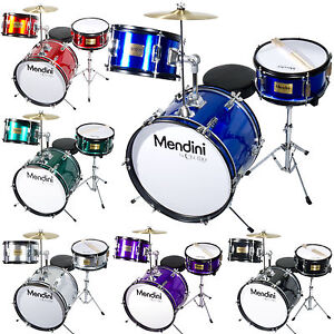 Mendini 16 Inch 3 Piece Junior Jr Kids Drum Set Black Blue Green