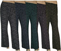 Ladies Women's Stretch Flared Palazzo Trousers Elasticated Summer Wide Leg Pants