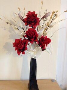 70 cm  High Artificial Silk Flower Arrangement In Red /& Cream Modern  Vase