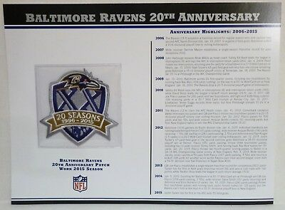 WILLABEE & WARD 20TH ANNIVERSARY BALTIMORE RAVENS PATCH STAT CARD a | eBay