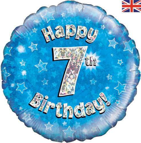 """Happy 7th BirthdayBlue /& Silver Holographic 18/"""" Party Foil Balloon 1-5pk"""