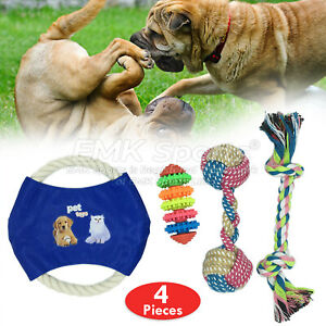 ROPE-TOYS-DOG-PET-PUPPY-GRINDING-PREVENTS-BOREDOM-TOYS-UK-STOCK-SETS-4-PIECES