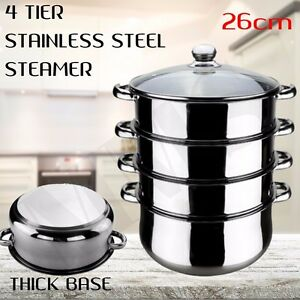 NEW-Stainless-Steel-Steamer-4-Tier-Cooking-Hot-Pot-Cookware-4-Layers-26cm-Cook