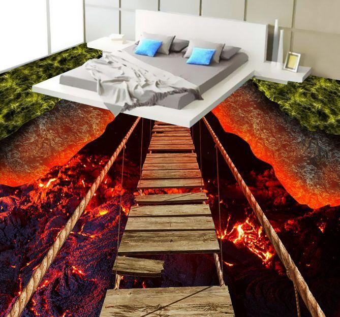 3D Rock-Magma Piso Impresión De Parojo De Papel Pintado Mural Puente Calcomanía 5D AJ Wallpaper