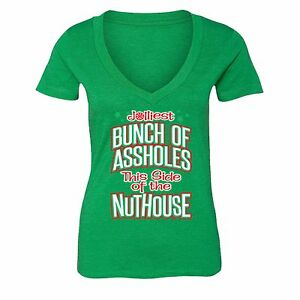 Womens Jolliest Bunch Of Nuthouse Vacation Ugly Christmas Sweater V