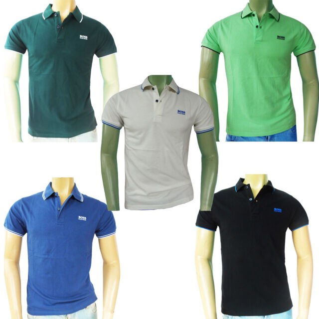 NWT HUGO BOSS Short Sleeve Cotton Green Label Jacquard collar polo T-shirts tee