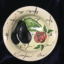 "ANTICA FORNACE ITALY AFA9 13"" LARGE ROUND SERVING BOWL EGGPLANT WORDS"