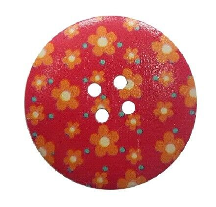 2.90 EUR//pezzo bottone in legno//Dekoknopf 40mm Motivo Floreale Rosso