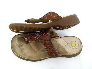 46a4b81606d9 Dr Doc Martens Women s 6 Brown Leather Thong Sandals Air Cushioned ...