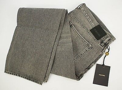 NWT $680 TOM FORD 'TF002' Gray Cotton Slim Fit Selvedge Denim Jeans 40x35