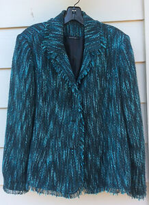 Wool Fringed Size Lafayette Xl Blend Nwt Jacket Green OBpOxwZU