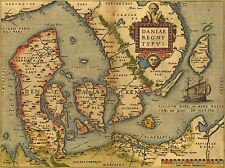 PRINT POSTER MAP OLD VINTAGE DENMARK DANISH ARCHIPELAGO SCANDINAVIA LFMP0837