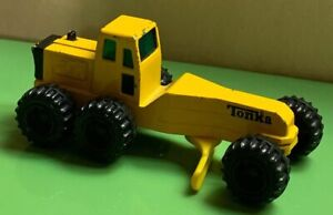 Vintage-1994-Mini-Yellow-Tonka-Die-Cast-Road-Grader-Construction-Used-Toy