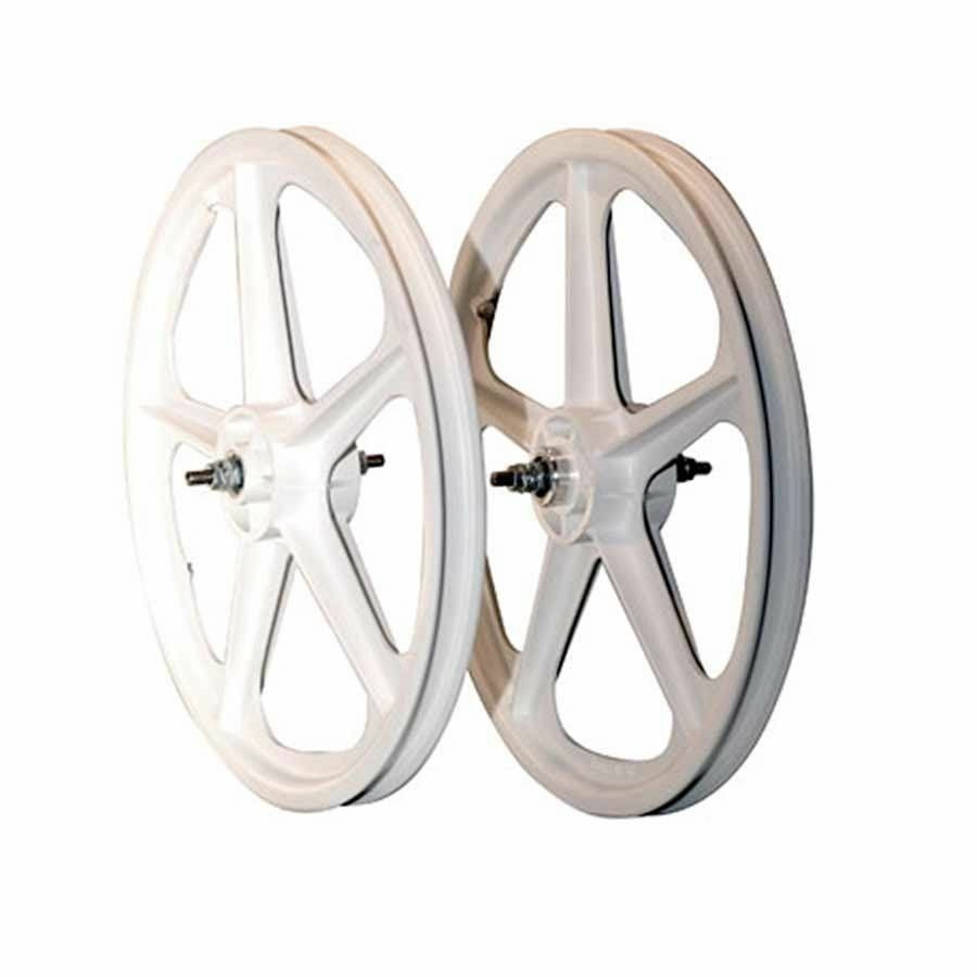 BMX WHITE Skyway Tuff II Wheel 2 Mag WHEELSET WHITE 20  Freewheel WHEEL SET