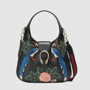 2d777620107c56 Image is loading Gucci-Dionysus-Embroidered-Phoenix-Birds-Hobo-Leather-Bag-